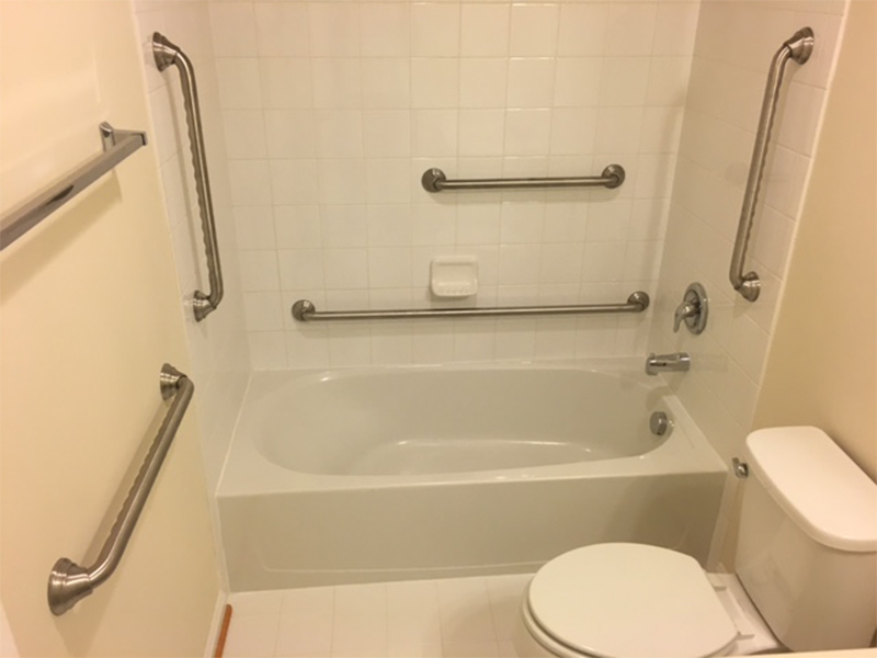 Bathroom with grab bars installed in Macomb County, MI