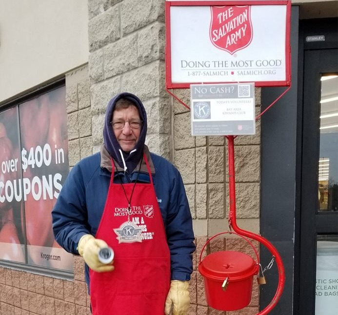 Dave Malkiewicz volunteering with Salvation Army Red Kettle
